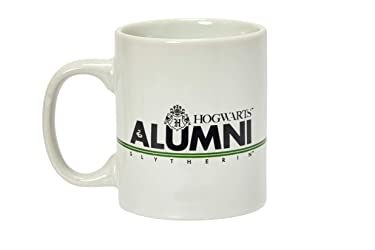 Harry Potter Slytherin Alumni 11-Oz Mug - White Ceramic Cup With Handle - Hogwarts Crest & House Green Stripe With Black Lettering - From Rowling's Wizarding World