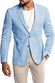Ryannology Mens Casual Linen Tailored Suit Jacket Blazer Long Sleeve Two-Button Lightweight Summer Sport Coat