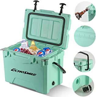 EchoSmile Seafoam Green Cooler, 25 Quart Rotomolded Cooler, Fit 30 Cans, Heavy Duty Ice Chest(Built-in Bottle Openers, Fishing Rule, Cup Holders and Lockable Corners) for Camping, Fishing