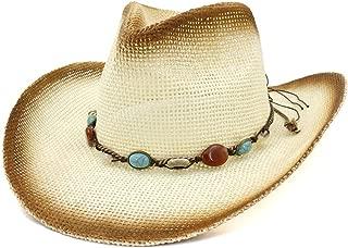 XinLin Du Women Men Summer Cowboy Hat Straw Sun Visor Western Paint Cowgirl Turquoise Braided Rope Beach Hat