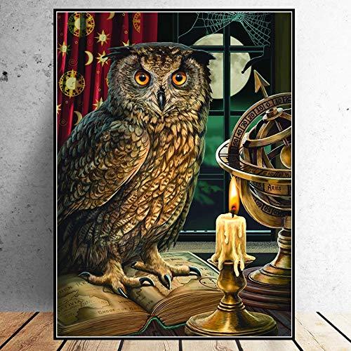 KWzEQ Leinwanddrucke Eule Bilder Wandkunst Dekor Homefor Wohnzimmer Poster,50x75cm,Rahmenlose Malerei
