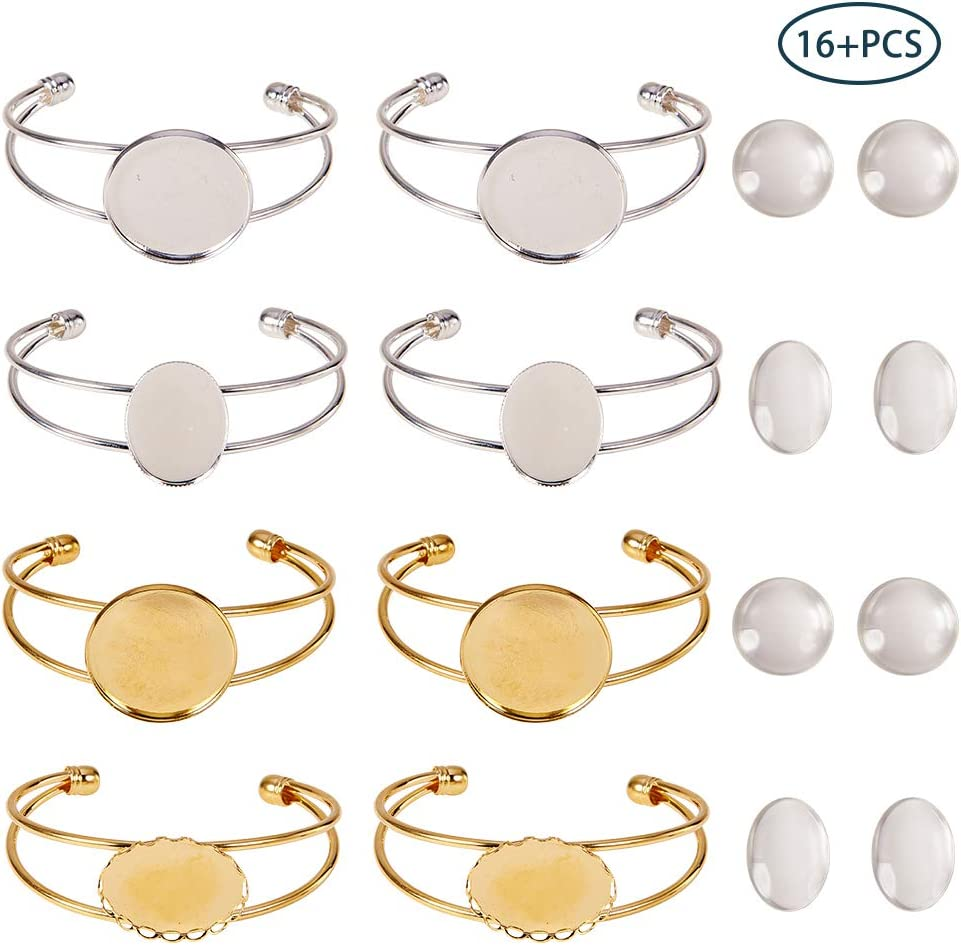 SUNNYCLUE 8pcs 4 Style Bezel Tray Blank Cuff Bangles Bracelet with 8pcs Round Oval Clear Cabochon Glass Dome for Men and Women, 4 Style(2pcs/Style)