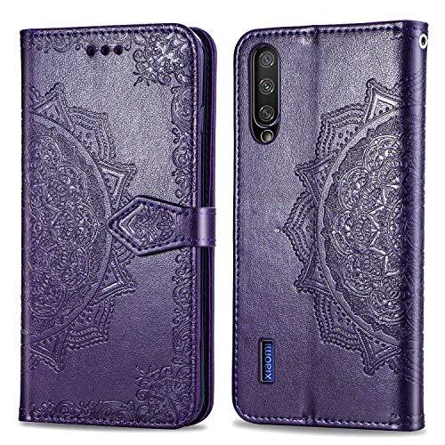 Bear Village Hülle für Xiaomi MI 9 Lite/MI A3 Lite/MI CC9, PU Lederhülle Handyhülle für Xiaomi MI 9 Lite/MI A3 Lite/MI CC9, Brieftasche Kratzfestes Handytasche mit Kartenfach, Violett