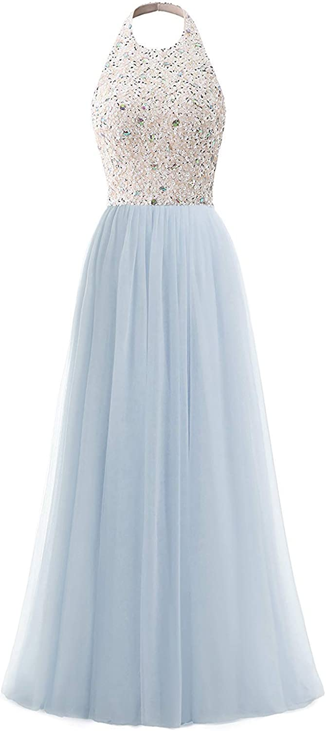 XKYU Women's Halter Beaded Prom Formal Dress Open Back A Line Evening Gown with Sequins