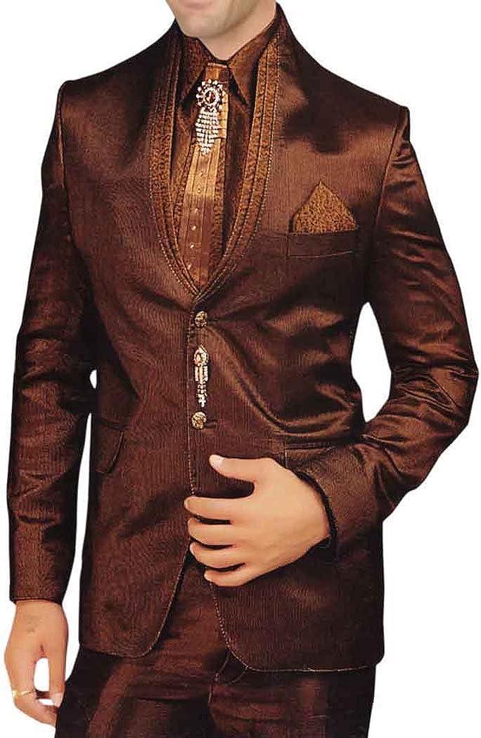 INMONARCH Mens Copper Polyester 7 Pc Tuxedo Suit Wedding TX0179