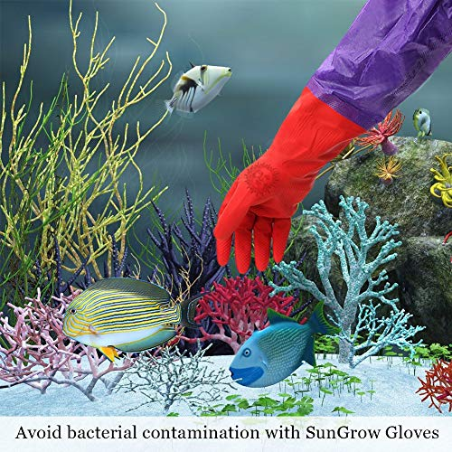 SunGrow Aquarium Water Change Gloves, 19.6 Inches Long, Anti Skidding Design, Keep Hands and Arms Dry, with Seamless Stitching and Elastic Cuff, Ensures Regular Fish Tank Maintenance, 1 Pair