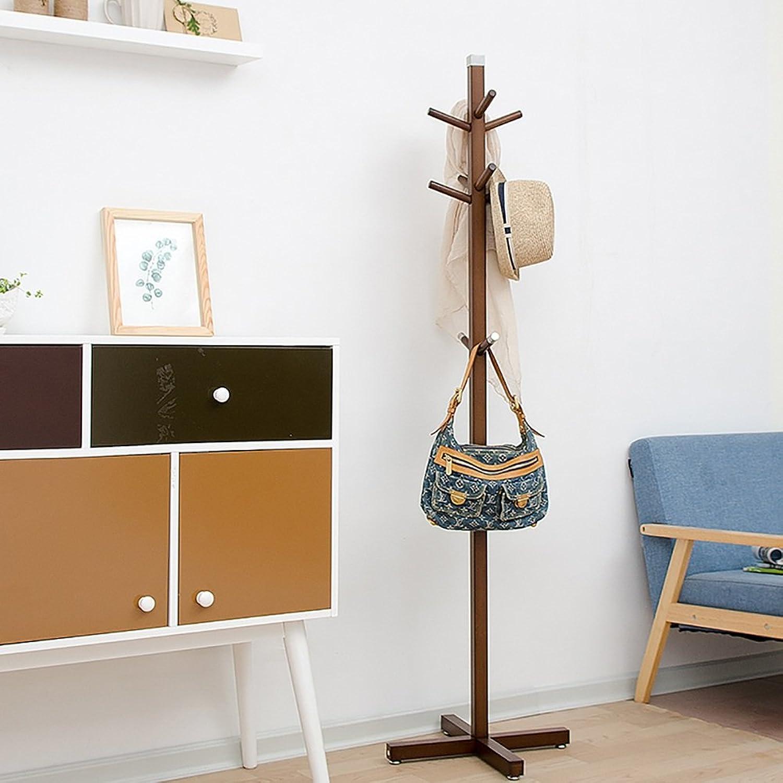 GWDJ Coat Rack Bedroom Floorstanding Coat Rack Creative Solid Wood Storage Rack Simple Hanger 160  45 cm Coat Rack Shelf (color   A-Brown)