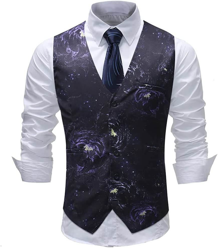 YFQHDD Men's Fashion Suit Vest Digital Print Single-Breasted Waistcoat Business Casual Wedding Formal Vest Male (Color : A, Size : 5XL code)