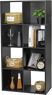 KINGSO 8-Cube Modular Storage Organizer Cabinet Bookshelf Bookcase Home Office Furniture Black
