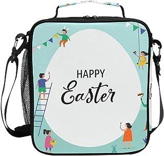 Sac à déjeuner isotherme Happy Easter - Sac à déjeuner carré portable - Grande capacité - Pour voyage, pique-nique, école,...