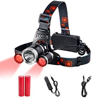 Head Torch Red Lighting LED Headlamp 4 Modes,Waterproof Adjustable Hands-free Torch Super Bright for Camping, Reading, Fis...