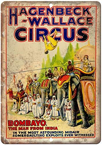 None Brand Hagenbeck Wallace Circus India Wanddekor Metallplakat gemalt Retro Eisen Zinn Wandschilder Dekoration Plakette Warnung für Bar Kaffee Hotel Büro Schlafzimmer Karneval