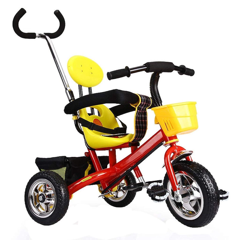 三輪車 トライク子供用三輪車ベビーライトトロリー子供自転車男の子女の子1-3-5-6歳三輪自転車鋼材4色 (Color : Red)