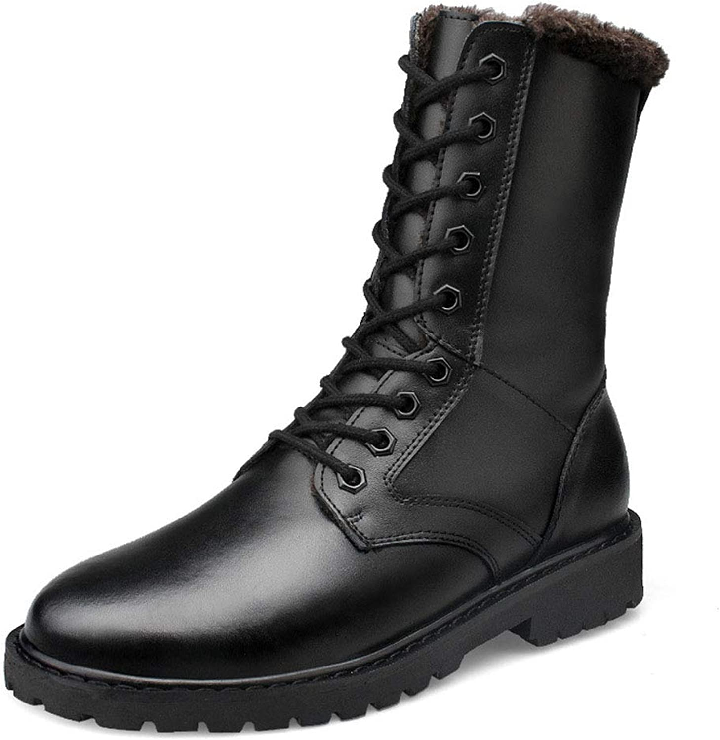 Men's Martin Boots,2018 Fall Winter Casual Genuine Leather Large Size Plus Cotton Thicken Mens Boots Outdoor & Leisure Martin Boots (color   Plus Cotton Black, Size   40)