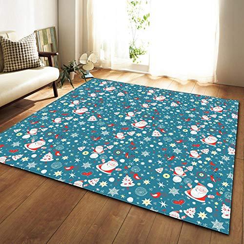 QWFDAQ alfombras Baratas Anciano de Navidad Blanca Azul alfombras 120 x 170...