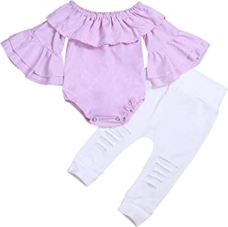 fiercewolf Baby Girl Summer Clothes Pink Striped Romper White Ripped Pants Newborn Outfits
