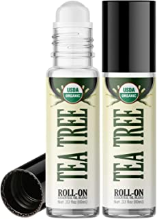 Organic Tea Tree Roll On Essential Oil Rollerball (2 Pack - USDA Certified Organic) Pre-diluted with Glass Roller Ball for...