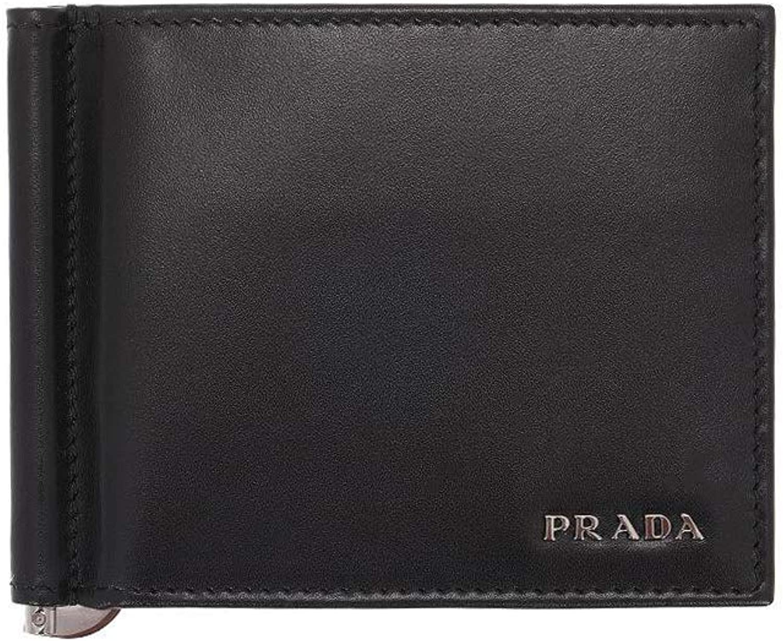 Prada Vitello Calf Leather Money Clip, Nero (Black) 2MN077
