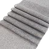 ARKSU Gray Burlap Table Runner 12 x 72 Inch Imitated Linen Wrinkle-Free for Wedding/Bridal Party/Rustic Event