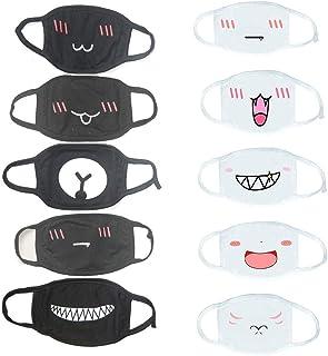 10 PCS Mouth-Muffle Unisex Cartoon Cute Face Mask Anti-dust Mask (5 White+ 5 Black)