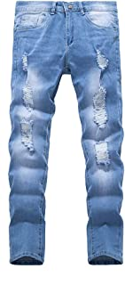 Men's Slim Fit Jeans, Skinny Jeans for Men Stretch Slim Fit Ripped Distressed (M, Light Blue Ripped)