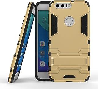 保護フォンケース 実用 Huawei Honor 8 OnePlus 3 LG X電源New 2 in 1 Iron ArmorタフスタイルハイブリッドデュアルレイヤーアーマーディフェンダーPCハードケーススタンド付き[耐震性ケース] (Color : ゴールド, Size : Huawei Honor 8)