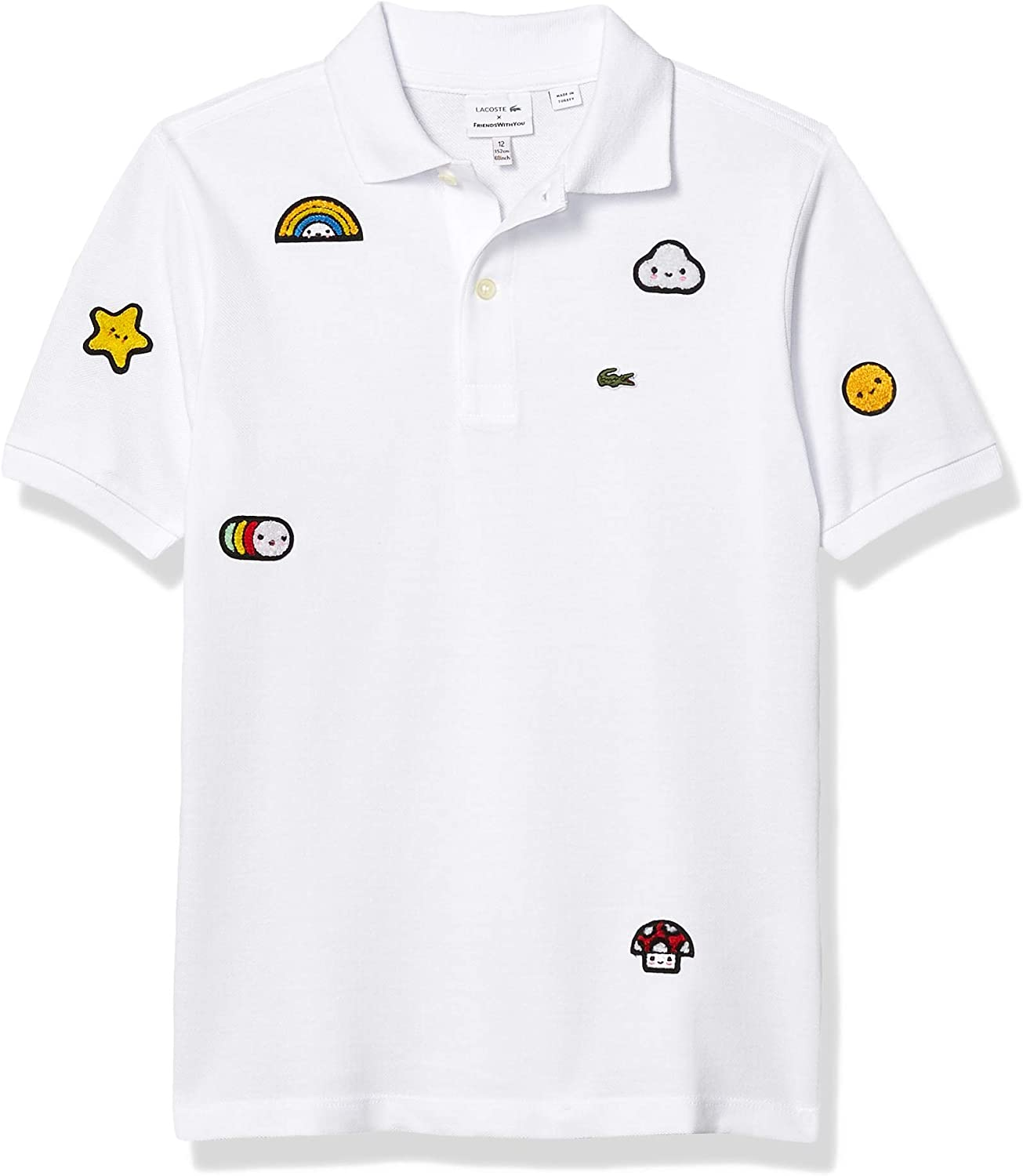 Lacoste Boys' Crocoseries Friends with You Allover Graphic Polo