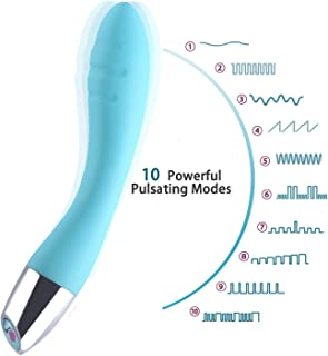Waterproof Therapeutic Wand Massager - USB Rechargeable - Medical Grade Silicone -Memory Function - Arbitrary Bending - Powerful but Quiet (Blue)