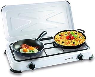 Réchaud gaz portable 2 feux 2600W Blanc laqué Couvercle Plaque de cuisson KEMPER
