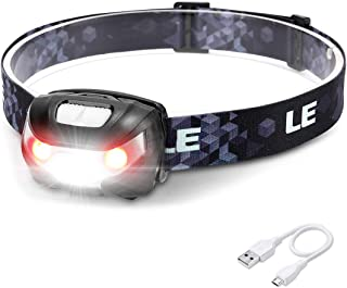 LED Rechargeable Headlamp Flashlights, Headlight with 5 Modes, Adjustable and Lightweight, Easy to Use, Perfect for Hands Free Running, Jogging, Camping, Hiking and More, USB Cable Included