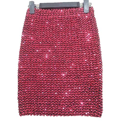 Four Seasons All-Match-Pailletten-Hüftrock, glänzender Pencil-Minirock, sexy hoher Taille schlanker Rock, kurzer Rock für Abendpartys, Nachtclubs (Color : Red, Size : One Size)