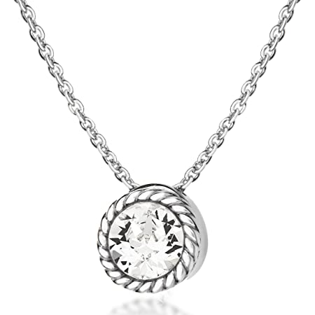 Tuscany Silver Collar con colgante de mujer con plata fina 925 y gema