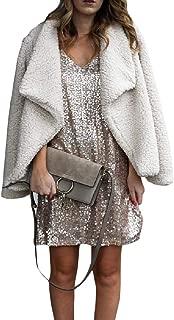 Energy Womens Warm Lapel Solid Open-Front Long Sleeve Velvet Outwear Coat