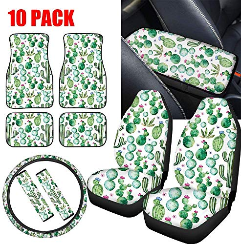 SEANATIVE Tropical Cactus Car Seat Covers with Front Rear Floor Liner Mats,Steering Wheel Cover and Center Console Armrest Cushion Pad&Seat Belt Shoulder Covers 10Pieces Set Universal Fit