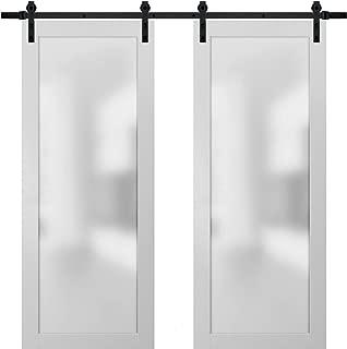 Sliding Lite Double Barn Frosted Glass Doors 72 x 84 | Planum 2102 White Silk | 13FT Rails Hangers Stops Hardware Set | Modern Solid Core Wood Interior Doors