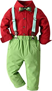 Baby Boys Christmas Outfits Toddler Xmas Costumes Gentleman Bowtie Shirt Pant Clothing Sets