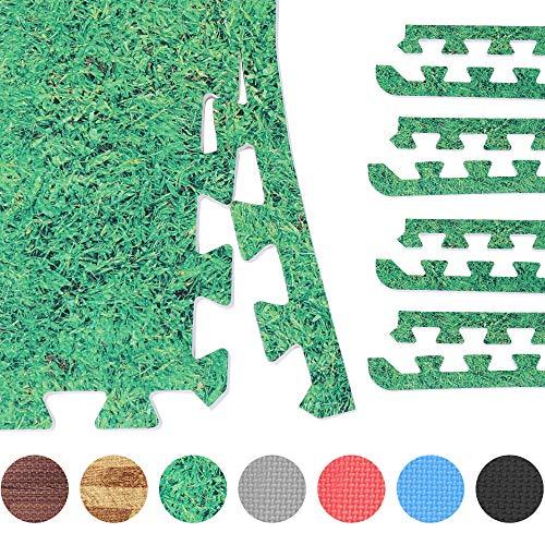 GORILLA SPORTS® 8 Schutzmatten-Endstücke Schaumstoff – Bodenmatten-Randstücke mit 60 cm-Länge + 1,2 cm-Dicke in Grasoptik