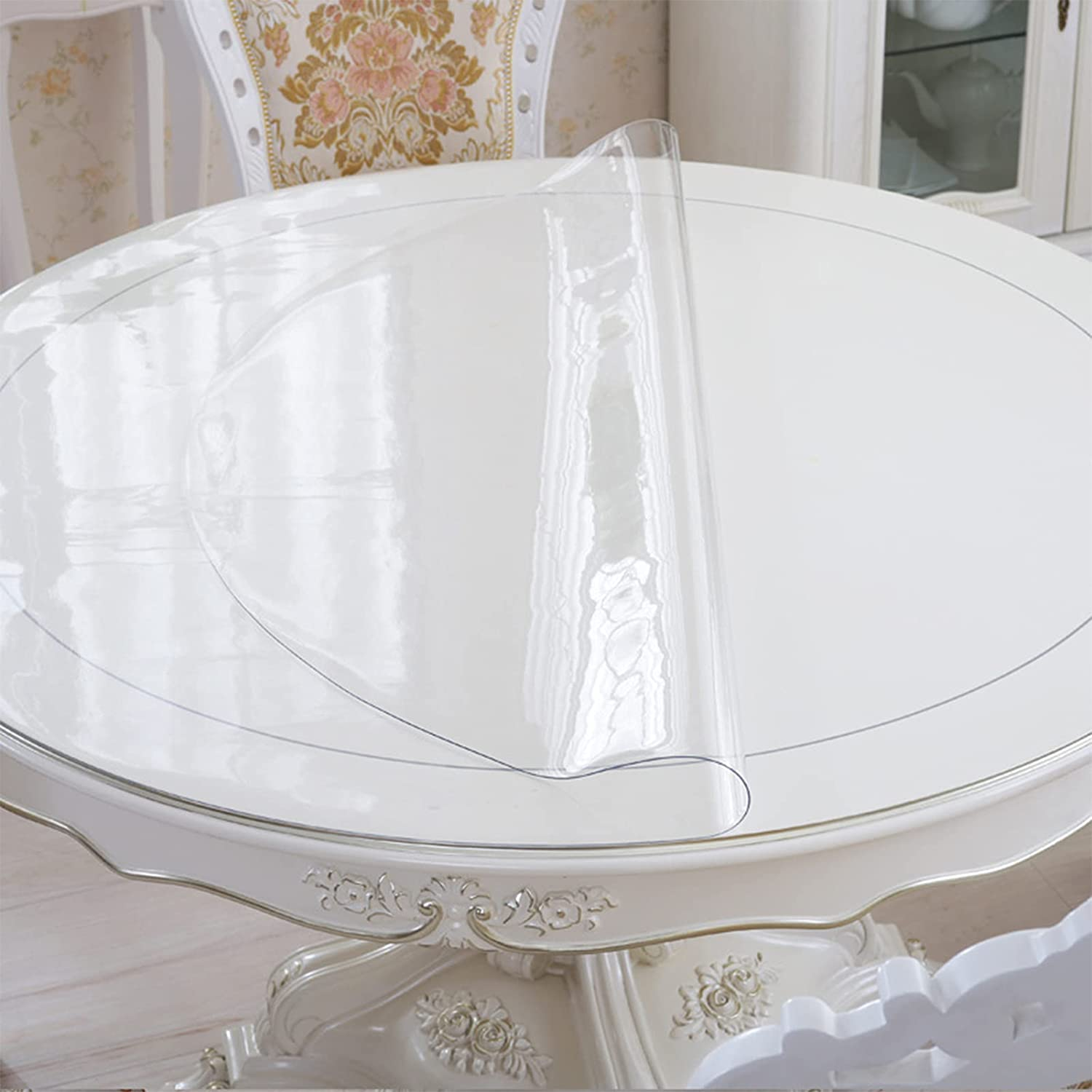 NBJT 1.5mm Round Max 66% OFF Clear Tablecloth PVC Table Soft Max 76% OFF Glass Transpare