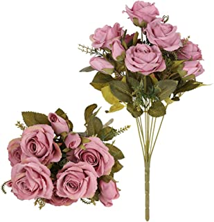 Tifuly Artificial Silk Rose Flowers Bouquets,Faux Roses Bouquet Fake Flowers with 9 Branch 12 Heads Arrangement for Wedding Party Home Office Restaurant Decoration,2 Bunchs/Pack(Purple Pink)