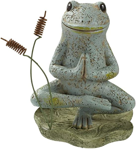 草地美国绑定半莲花尖脚趾姿势瑜伽青蛙 5 英寸树脂石桌面公仔