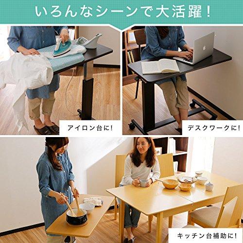 LOWYAロウヤテーブルベッドテーブル昇降66~90cmサイドテーブルナチュラルホワイト