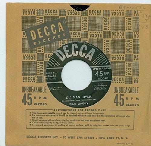 Ol' Man River | I Still Suits Me - Bing Crosby (Decca Records 1950) Near-Mint - Vintage 45 RPM Vinyl Record