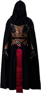 Cosplaysky Men's Tunic Hooded Robe for Darth Revan Costume Black Outfit