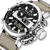 MEGALITH Reloj Hombre Relojes Militares Digitale Deportivos Cronometro LED Impermeable Relojes Hombre Multifuncion Esfera Grande Relojes Analógicos Digital Hombre Nylon Caqui Alarma Fecha