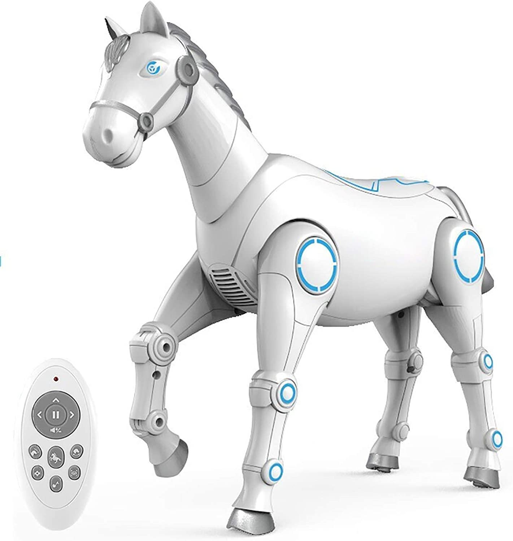 QUEMIN Juguete Inteligente del Caballo del Robot De RC,Juguetes Electrónicos Interactivos para Mascotas con Voz,Programación,Caminar,Bailar Cantar,Niños Niños Niños & Niñas Juguetes Educativos Regalo