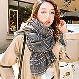 Photo Gallery zami bufanda otoño e invierno femenino grueso cálido chal de cachemira estudiante a cuadros bufanda-fideos blanco y negro