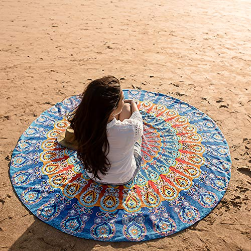 Round Beach Blanket or Thick Beach Towel, Oversized Thick Mandala Beach Towel for Yoga, Pool or Meditation, Large Terry Microfiber Towel with Boho or Bohemian Print - 72 Inches, Bondi Blue