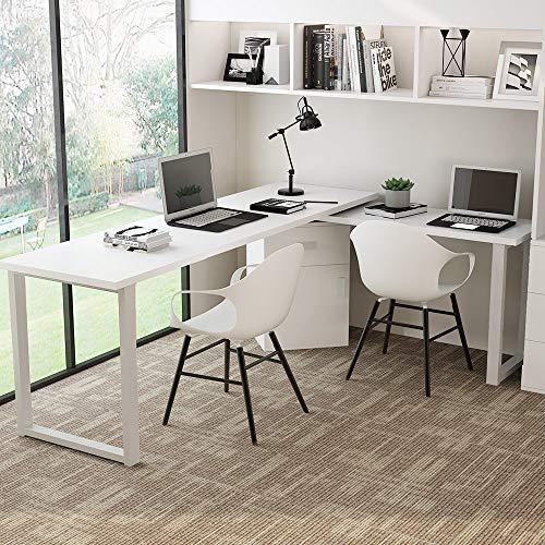 Zinus Urban L-Shaped Corner Computer Desk/Workstation/Home Office with Storage Shelves, Medium, Espresso