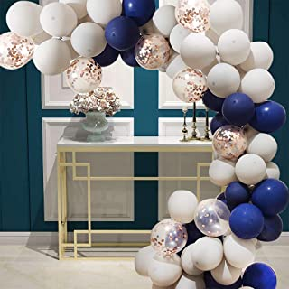 70 Pieces of Navy Blue And Rose Gold Multicolored Party Balloons Suitable For Birthday Parties, Weddings And Anniversarie...