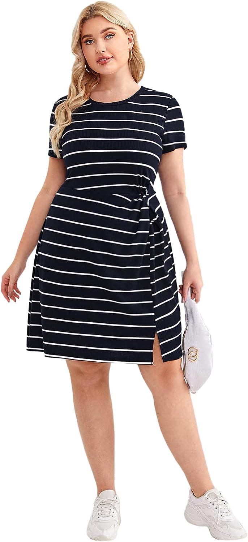 Floerns Women's Plus Size Striped Twist Side Split Hem Rib Knit Short Dress